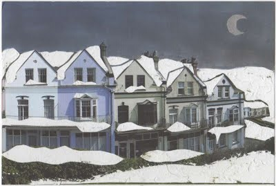 defaced Mortehoe postcard by Sam Stevenson - snow moon crescent