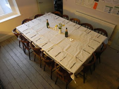 dining table configured to seat 14
