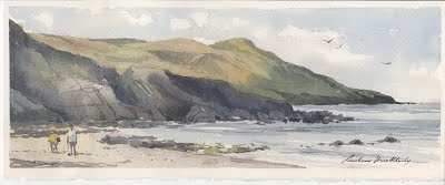 Watercolour painting by Andrew Hucklesby. View of Morte Point from Rockham Bay.